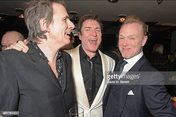 John Taylor Simon Le Bon and Gary Kemp attend Anthony Price's 70th birthday party hosted by Nick Rhodes at Blakes Hotel on March 5 2015 in London...