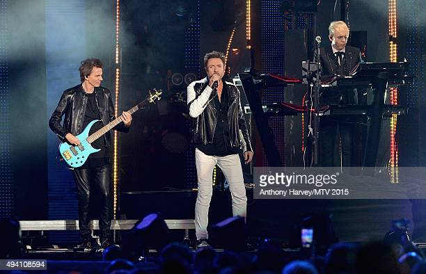 John Taylor Simon Le Bon and Nick Rhodes from Duran Duran perform on stage at the Milan Music Week World Stage ahead of the MTV EMA's 2015 at Piazza...