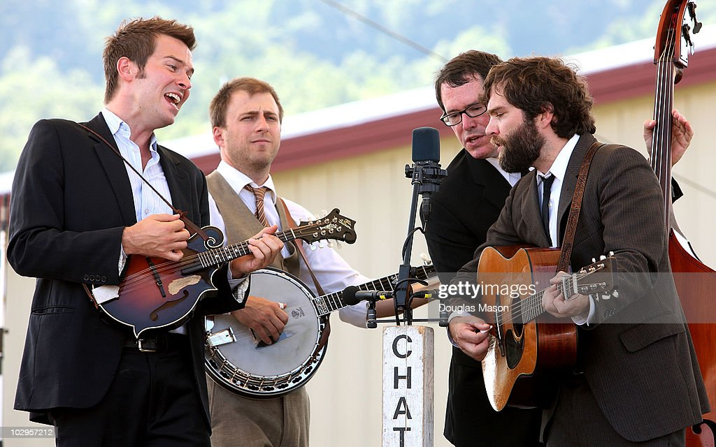 John Teer Violin Dare Wilson Guitar Greg Reading bass and Chandler Holt banjo perform as Chatahm County Line during the Green River Festival at the...