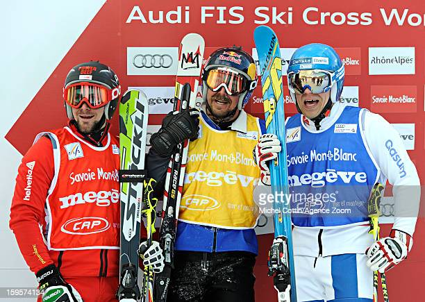 John Teller of the USA Jouni Pellinen of Finland Armin Niederer of Switzerland during the FIS Freestyle Ski World Cup Men's and Women's Ski Cross on...