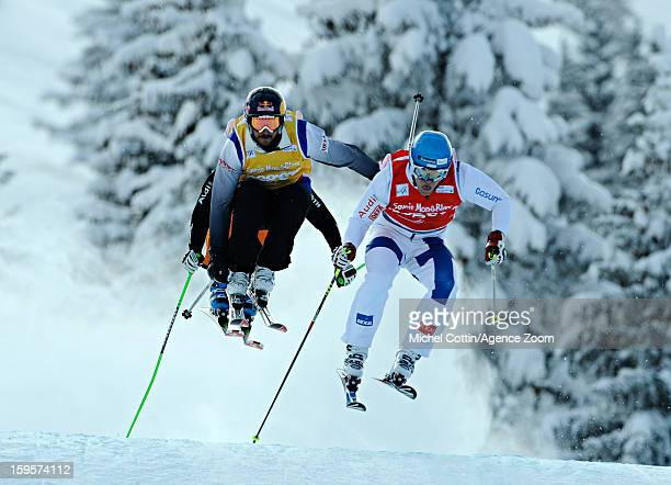 John Teller of the USA next to Jouni Pellinen of Finland during the FIS Freestyle Ski World Cup Men's and Women's Ski Cross on January 16 2013 in...