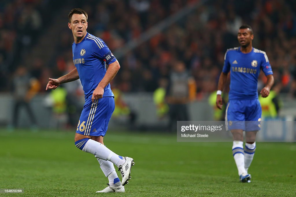 John Terry (L) and Ashley Cole (R) of Chelsea during the UEFA Champions League Group E match between Shakhtar Donetsk and Chelsea at the Donbass Arena on October 23, 2012 in Donetsk, Ukraine.