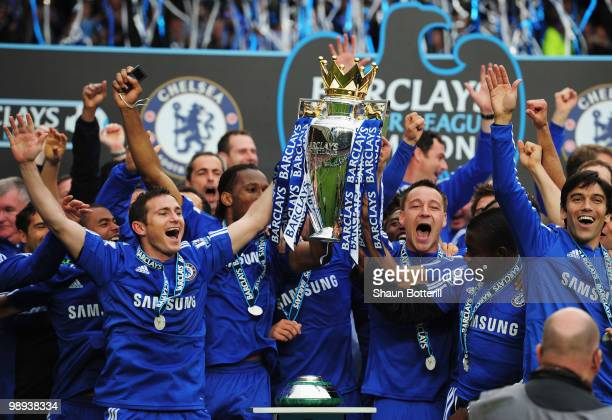 John Terry and Frank Lamaprd of Chelse lift the trophy after the Barclays Premier League match between Chelsea and Wigan Athletic at Stamford Bridge...