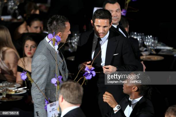 John Terry and Frank Lampard chat during the PFA Player of the Year Awards 2015 at the Grosvenor House Hotel London