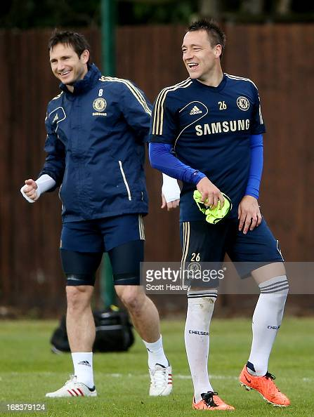 John Terry and Frank Lampard during a Chelsea training session as part of a UEFA Europa League Final Media Day on May 9 2013 in Cobham England