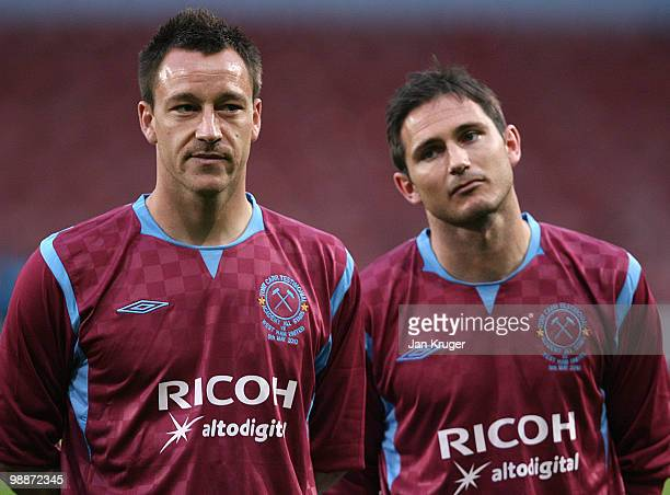 John Terry and Frank Lampard of the Academy AllStars look on during the Tony Carr Testimonial match between the Academy AllStars and West Ham United...