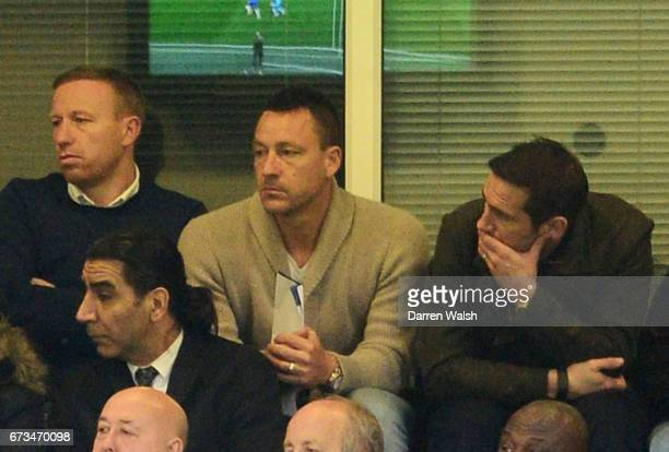 John Terry and Frank Lampard watch on during the FA Youth Cup Final second leg between Chelsea and Mancherster City at Stamford Bridge on April 26...