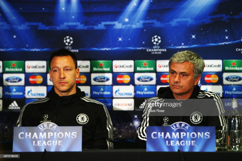 <a gi-track='captionPersonalityLinkClicked' href=/galleries/search?phrase=John+Terry&family=editorial&specificpeople=171535 ng-click='$event.stopPropagation()'>John Terry</a> and his Chelsea manager Jose Mourinho talk to the media at the Chelsea press conference at Stamford Bridge on April 29, 2014 in London, England.