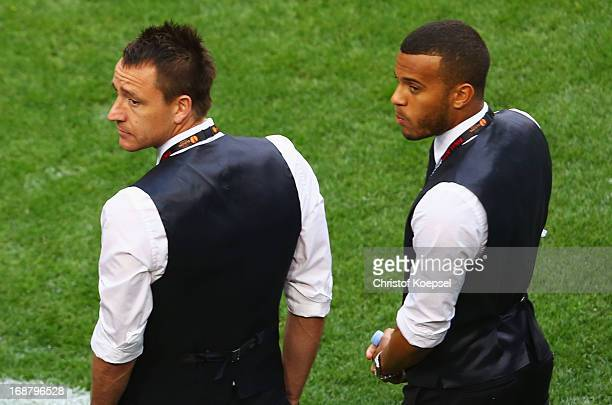John Terry and Ryan Bertrand of Chelsea look on during the UEFA Europa League Final between SL Benfica and Chelsea FC at Amsterdam Arena on May 15...