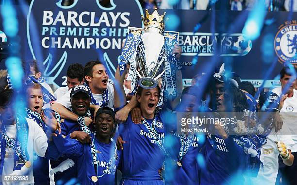 John Terry and the Chelsea team celebrate winning the Barclays Premiership title after the match between Chelsea and Manchester United at Stamford...