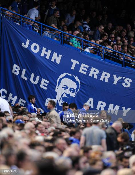 John Terry banner at Stamford Bridge during the Premier League match between Chelsea and Sunderland at Stamford Bridge on May 21 2017 in London...