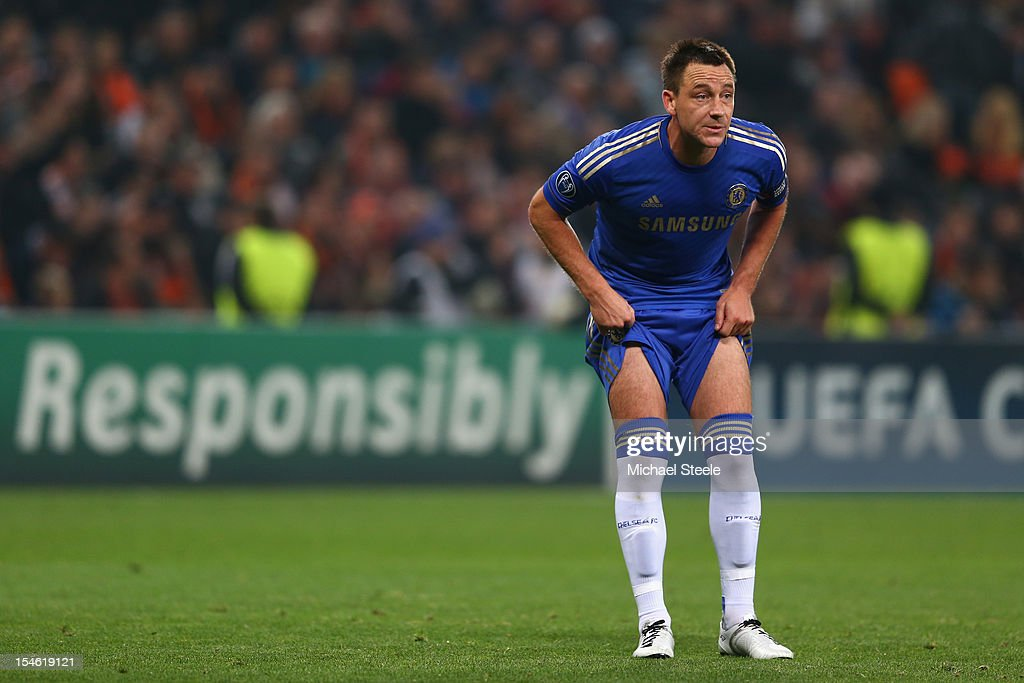 John Terry captain of Chelsea during the UEFA Champions League Group E match between Shakhtar Donetsk and Chelsea at the Donbass Arena on October 23, 2012 in Donetsk, Ukraine.