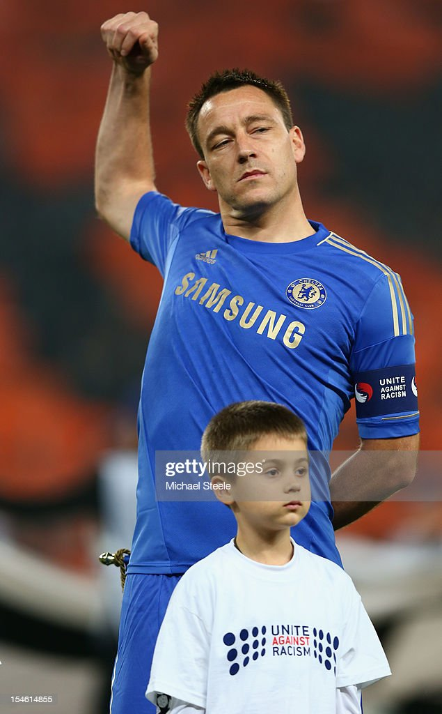 John Terry captain of Chelsea lines up ahead of the UEFA Champions League Group E match between Shakhtar Donetsk and Chelsea at the Donbass Arena on October 23, 2012 in Donetsk, Ukraine.