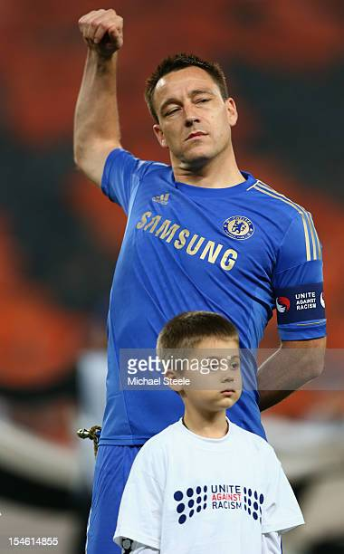 John Terry captain of Chelsea lines up ahead of the UEFA Champions League Group E match between Shakhtar Donetsk and Chelsea at the Donbass Arena on...