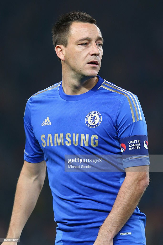 John Terry captain of Chelsea wears a 'Unite against Racism' arm band to highlight UEFA's FARE Action Week campaign during the UEFA Champions League Group E match between Shakhtar Donetsk and Chelsea at the Donbass Arena on October 23, 2012 in Donetsk, Ukraine.