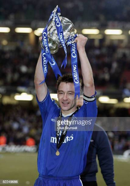 John Terry celebrates with the Carling Cup trophy at the end of the Carling Cup Final match between Chelsea and Liverpool at the Millennium Stadium...