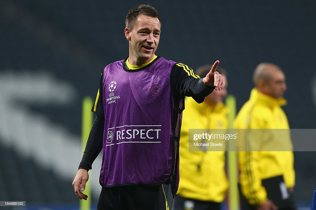 John Terry during the Chelsea Training session ahead of the UEFA Champions League Group E match between Shakhtar Donetsk and Chelsea at Donbass Arena on October 22, 2012 in Donetsk, Ukraine.