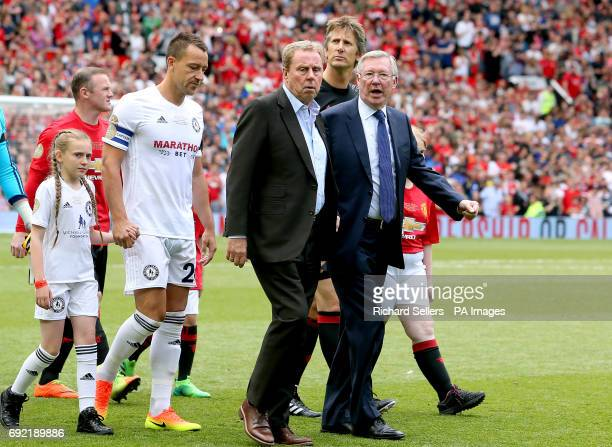 John Terry Harry Redknapp and Sir Alex Ferguson walk out before Michael Carrick's Testimonial match at Old Trafford Manchester