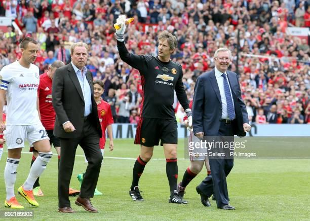 John Terry Harry Redknapp Edwin van der Sar and Sir Alex Ferguson during Michael Carrick's Testimonial match at Old Trafford Manchester