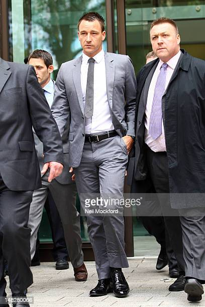 John Terry leaves court after a not guilty verdict was reached of his alleged racial abuse trial on July 13 2012 in London England The former England...