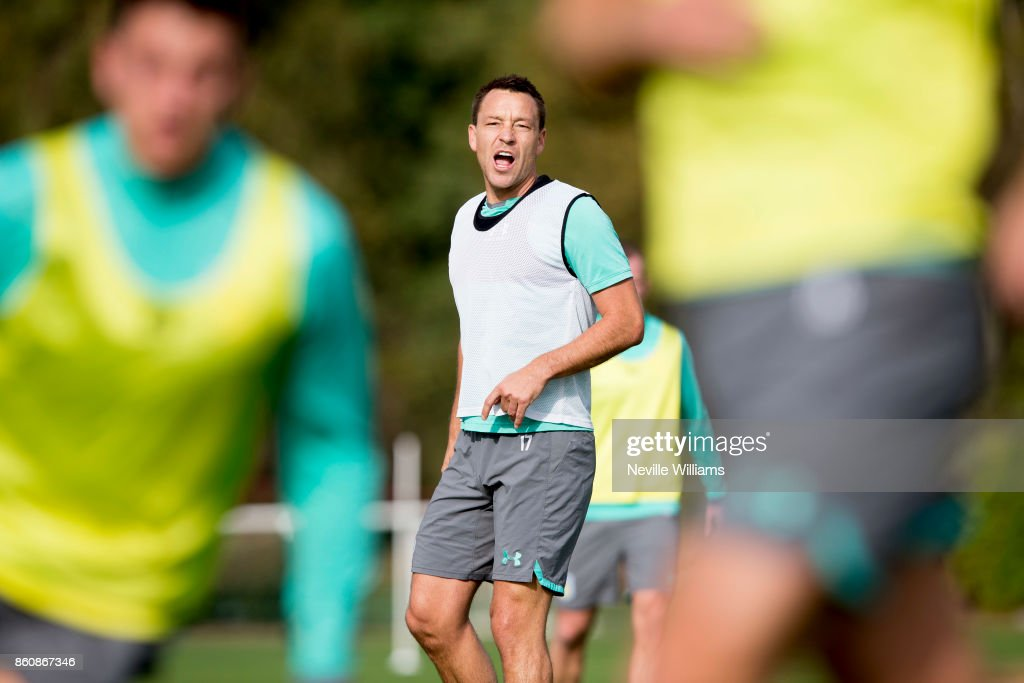 John Terry of Aston Villa in action during a training session at the club's training ground at Bodymoor Heath on October 13, 2017 in Birmingham, England.