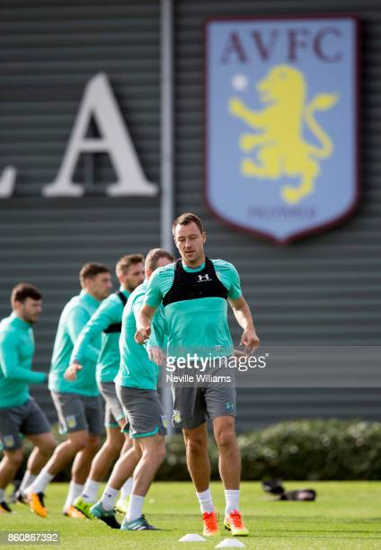 John Terry of Aston Villa in action during a training session at the club's training ground at Bodymoor Heath on October 13 2017 in Birmingham England