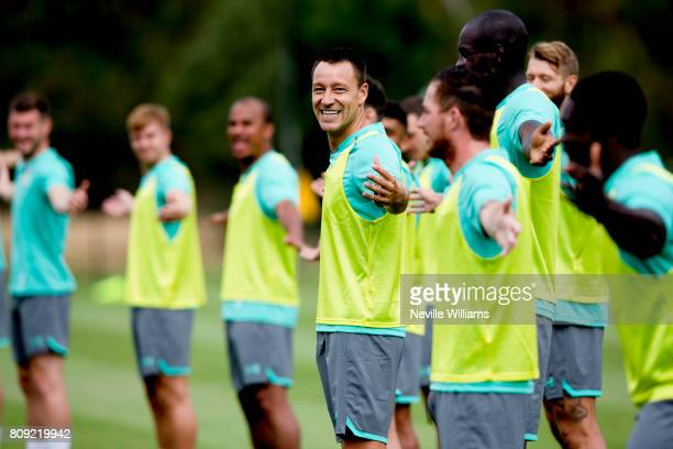 John Terry of Aston Villa in action with team mates during a Aston Villa training session at the club's training camp at Faro on July 05 2017 in Faro...