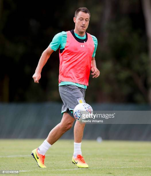 John Terry of Aston Villa in action with team mates during a Aston Villa training session at the club's training camp at Faro on July 07 2017 in Faro...