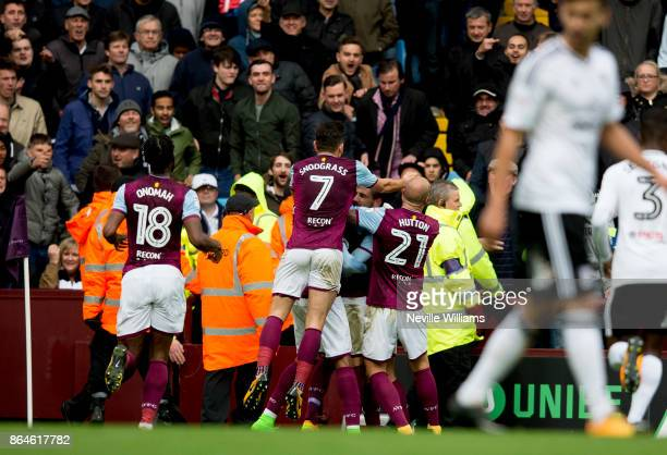 John Terry of Aston Villa scores for Aston Villa during the Sky Bet Championship match between Aston Villa and Fulham at Villa Park on October 21...