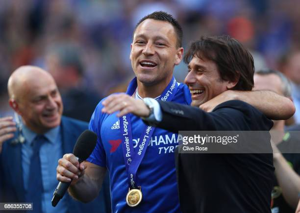 John Terry of Chelsea and Antonio Conte Manager of Chelsea celebrate after the Premier League match between Chelsea and Sunderland at Stamford Bridge...