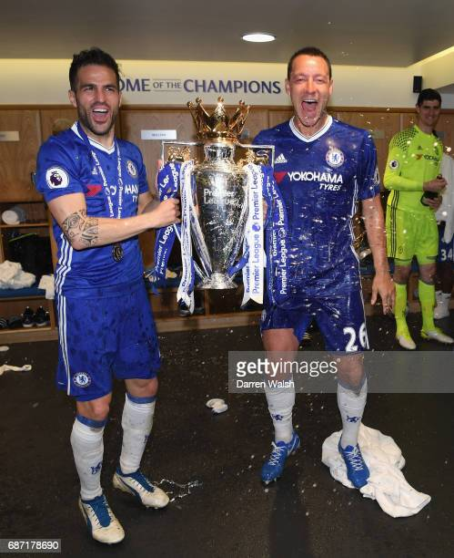 John Terry of Chelsea and Cesc Fabregas of Chelsea celebrate winning the league following the Premier League match between Chelsea and Sunderland at...