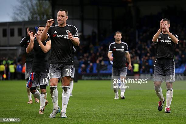 John Terry of Chelsea and his teammates applaud the fans after the Barclays Premier League match between Crystal Palace and Chelsea at Selhurst Park...