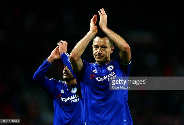 John Terry of Chelsea and Pedro of Chelsea applaud the fans after the Barclays Premier League match between Manchester United and Chelsea at Old...