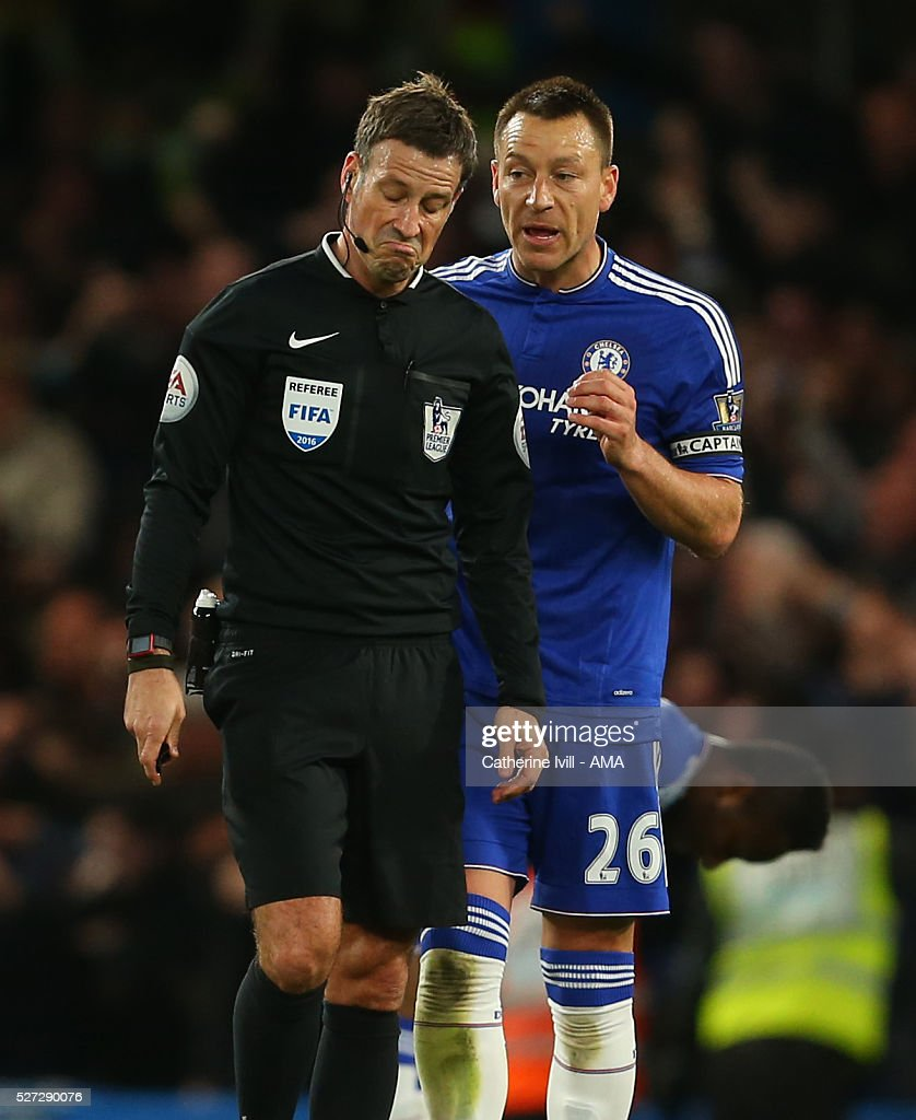 John Terry of Chelsea appeals to referee Mark Clattenburg during the Barclays Premier League match between Chelsea and Tottenham Hotspur at Stamford Bridge on May 2, 2016 in London, England.