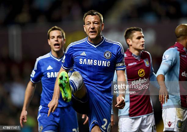 John Terry of Chelsea appeals to the assistant referee during the Barclays Premier League match between Aston Villa and Chelsea at Villa Park on...