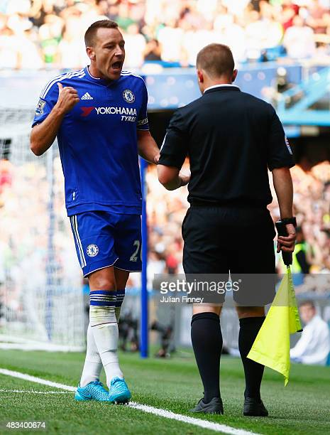 John Terry of Chelsea argues with an assistant referee during the Barclays Premier League match between Chelsea and Swansea City at Stamford Bridge...