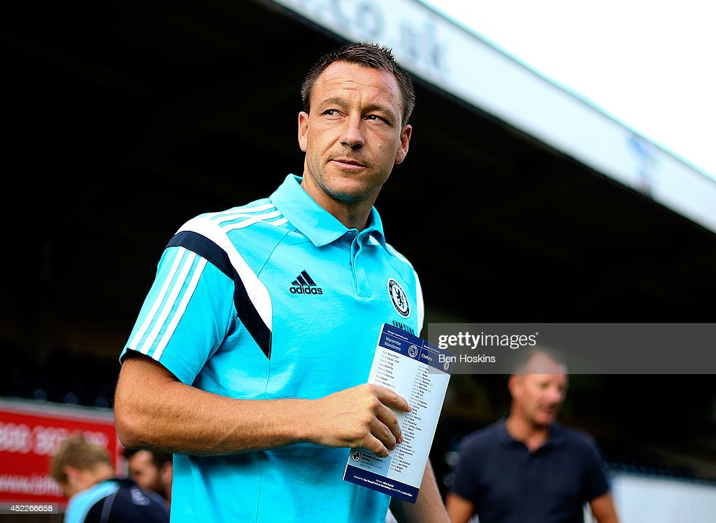 John Terry of Chelsea arrives at the ground prior to the pre season friendly match between Wycombe Wanderers and Chelsea at Adams Park on July 16, 2014 in High Wycombe, England.