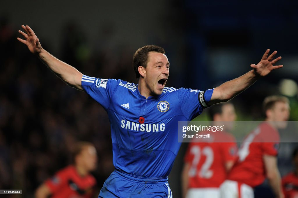 John Terry of Chelsea celebrates after scoring the opening goal during the Barclays Premier League match between Chelsea and Manchester United at Stamford Bridge on November 8, 2009 in London, England.