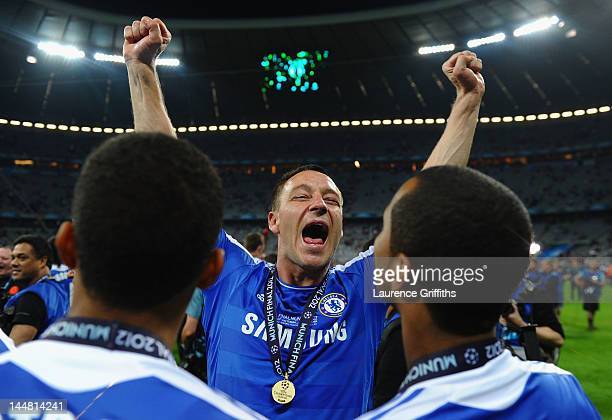 John Terry of Chelsea celebrates after their victory in the UEFA Champions League Final between FC Bayern Muenchen and Chelsea at the Fussball Arena...