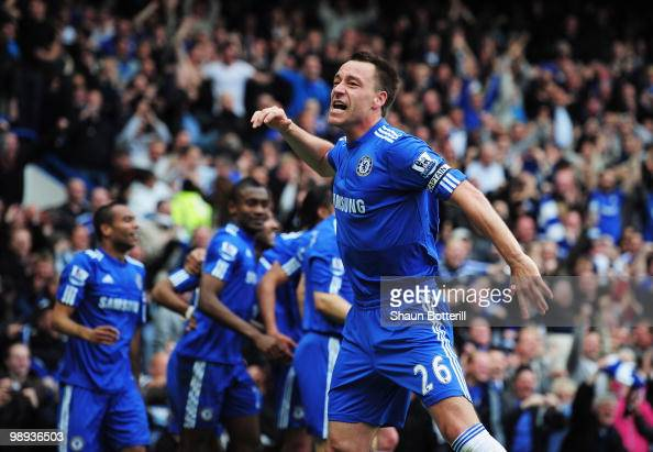 John Terry of Chelsea celebrates as Nicolas Anelka scores their fourth goal during the Barclays Premier League match between Chelsea and Wigan...