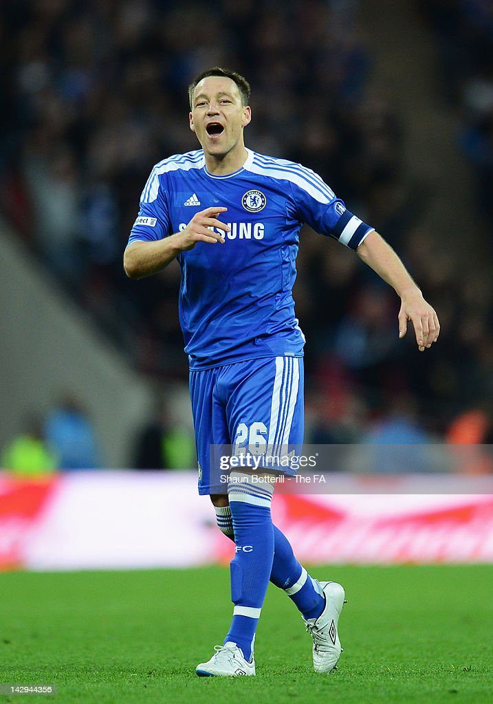 John Terry of Chelsea celebrates at the final whistle during the FA Cup with Budweiser Semi Final match between Tottenham Hotspur and Chelsea at Wembley Stadium on April 15, 2012 in London, England.