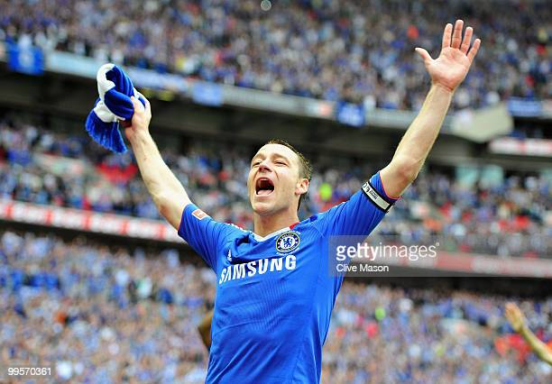John Terry of Chelsea celebrates following his team's victory at the end of the FA Cup sponsored by EON Final match between Chelsea and Portsmouth at...