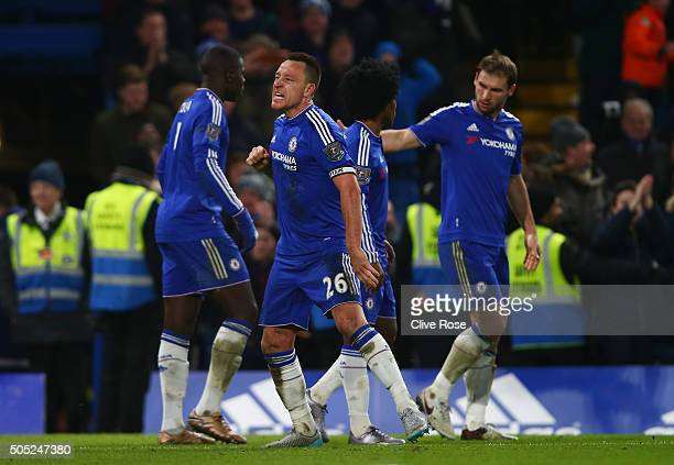 John Terry of Chelsea celebrates scoring his team's third goal during the Barclays Premier League match between Chelsea and Everton at Stamford...