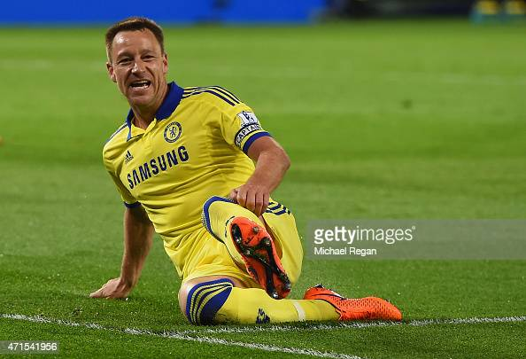 John Terry of Chelsea celebrates scoring their second goal during the Barclays Premier League match between Leicester City and Chelsea at The King...