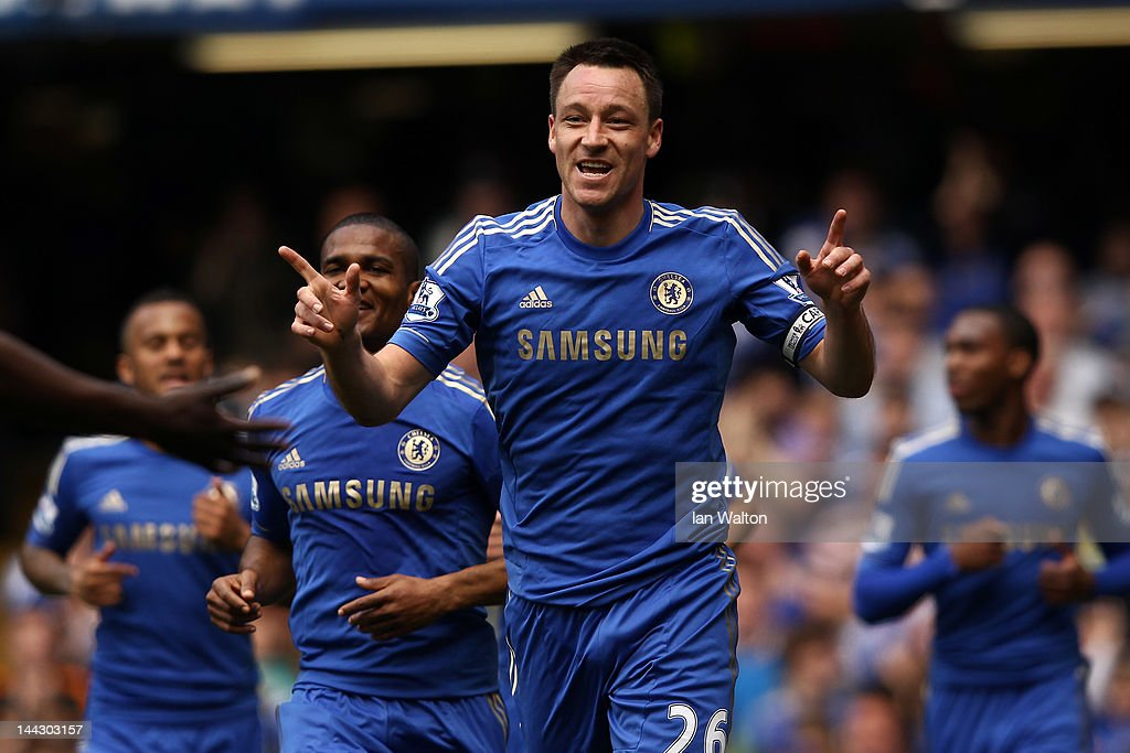 <a gi-track='captionPersonalityLinkClicked' href=/galleries/search?phrase=John+Terry&family=editorial&specificpeople=171535 ng-click='$event.stopPropagation()'>John Terry</a> of Chelsea celebrates soring their first goal during the Barclays Premier League match between Chelsea and Blackburn Rovers at Stamford Bridge on May 13, 2012 in London, England.