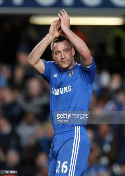 John Terry of Chelsea celebrates victory after scoring the second goal during the FA Cup sponsored by Eon Quarter Final match between Chelsea and...