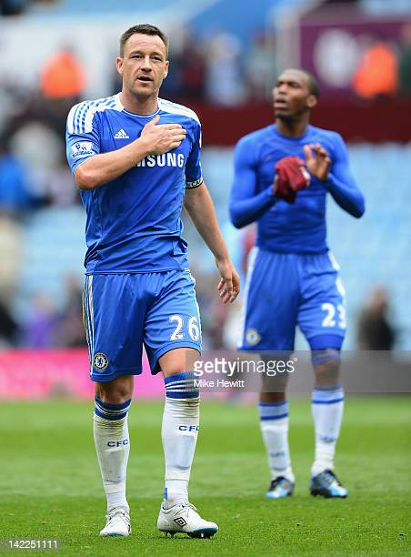 John Terry of Chelsea celebrates victory after the Barclays Premier League match between Aston Villa and Chelsea at Villa Park on March 31 2012 in...