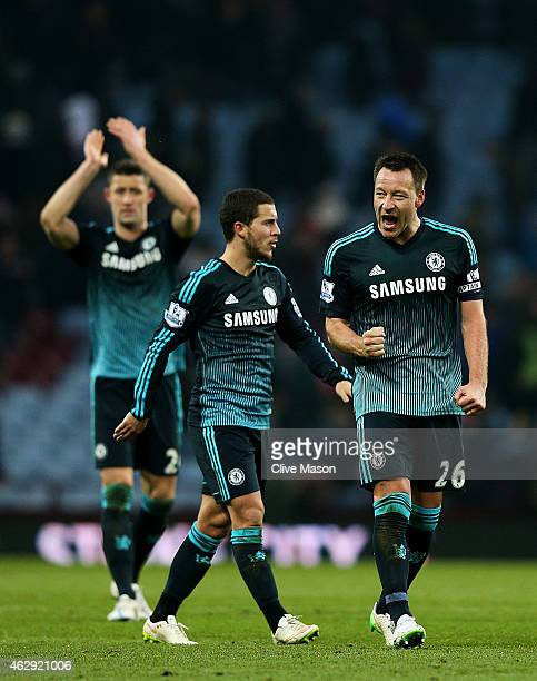 John Terry of Chelsea celebrates victory after the Barclays Premier League match between Aston Villa and Chelsea at Villa Park on February 7 2015 in...