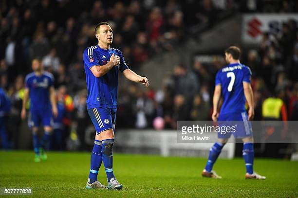 John Terry of Chelsea celebrates victory after the Emirates FA Cup Fourth Round match between Milton Keynes Dons and Chelsea at Stadium mk on January...