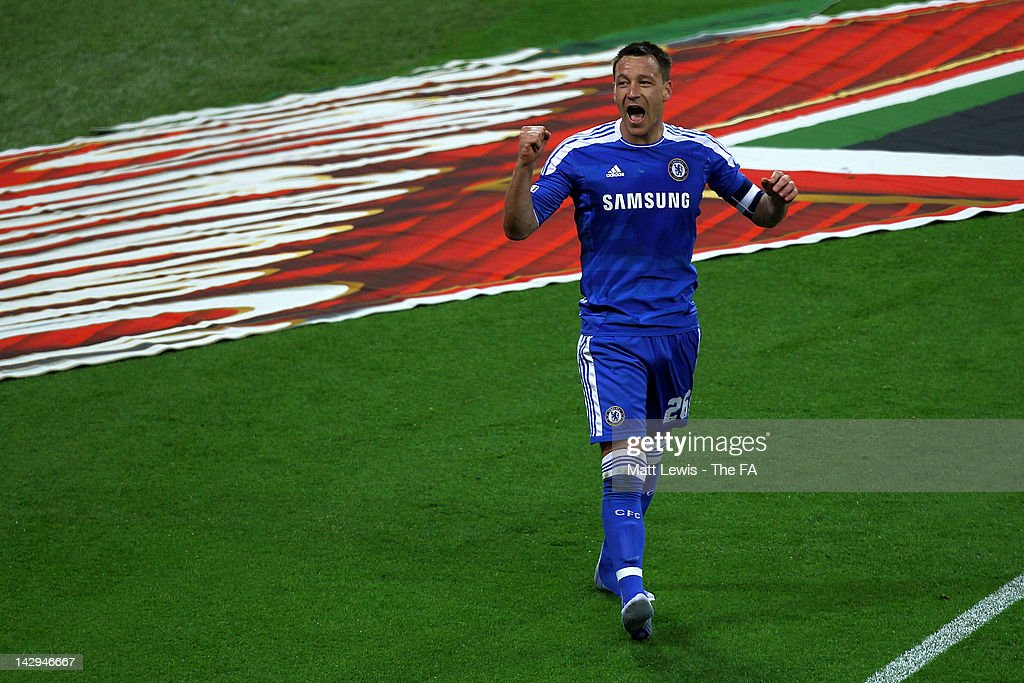 John Terry of Chelsea celebrates victory at the final whistle during the FA Cup with Budweiser Semi Final match between Tottenham Hotspur and Chelsea at Wembley Stadium on April 15, 2012 in London, England.